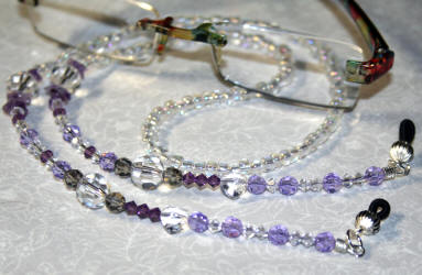 HAND MADE EYEGLASSES HOLDER SWAROVSKY CRYSTALS LILAC WITH SILVER ACCENTS