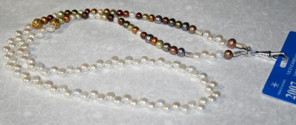 HAND MADE BADGE HOLDER CULTURED FRESHWATER PEARLS GOLD AND SILVER ACCENTS