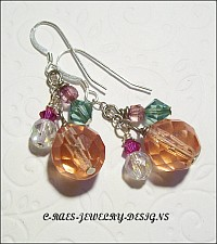 round faceted glass beads n crystal earrings