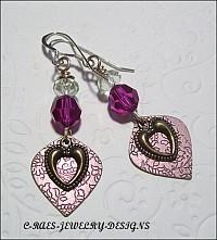 crystal and heart earrings