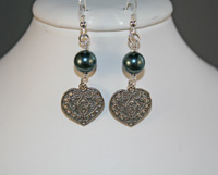 Pearl and Heart Earwires