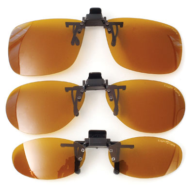 clip on sunglasses shown in different sizes