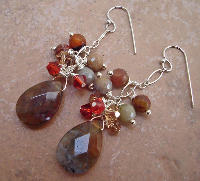 fancy jasper wire-wrapped earrings with sterling silver