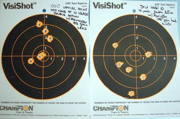 10 yard targets, double action off-hand; Colt (left) and S&W (right)