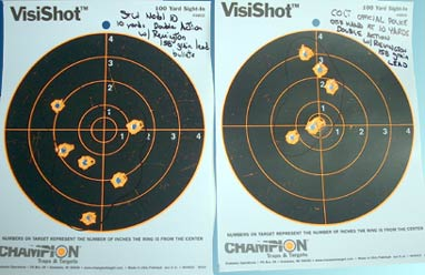 10 yard targets, double action; S&W (left) and Colt (right)