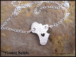 Heart is in Africa sterling silver necklace