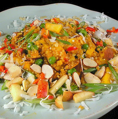 Quinoa Salad With Almonds, Coconut, Apple and Asian Flavors