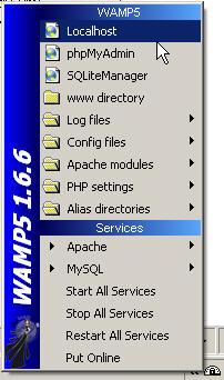 zakładka localhost - serwer Wamp
