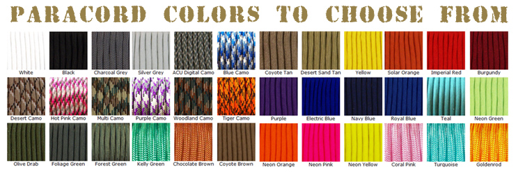 Various Paracord Colors
