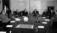 The Pacific War Council meets at the White House to discuss the strategy to defeat Japan