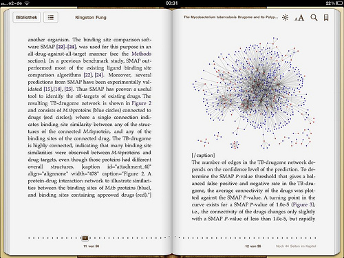 The workshop example paper from PLoS Comp Biol, as seen on the iPad.