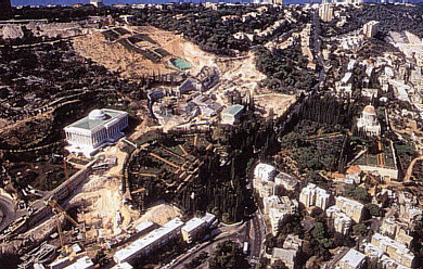 Aerial shot of current construction on the Bahá'í properties in Haifa, showing the arc-shaped path delineated by Shoghi Effendi, along which the administrative buildings are situated.