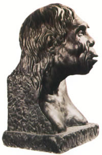 The restored head statue of the 'Beijing Man.'