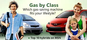 Gas by Class // Photo illustration of student & soccer mom with cars (© Getty Images; UpperCut Images/Masterfile; Toyota Motor Sales, USA, Inc; Mazda North American Operations)