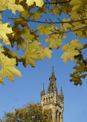 The university tower in autumn