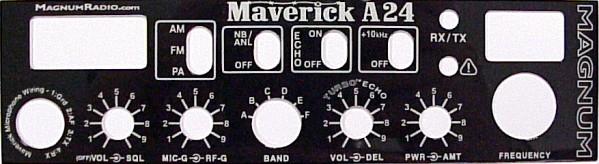 Magnum Maverick A24 10 Meter Radio Optional Front Panel.
