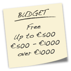 Web Design Budget - Free, up to €500, €500 to €1000, over €1000