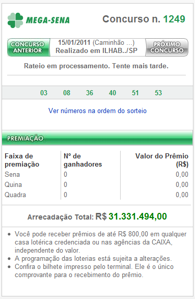 Mega Sena 1249 – Resultado Oficial Mega Sena 1249