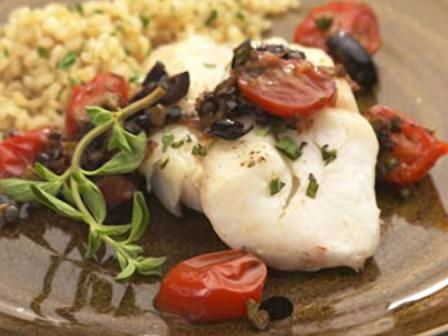 Roasted cod with cherry Tomatoes, Basil and Mozzarella Recipe