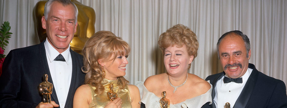 Best Actor Lee Marvin, Best Actress Julie Christie, Best Supporting Actress Shelley Winters, and Martin Balsam