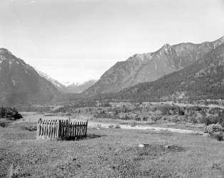 BC Archives # I-29069, Indian Grave w. view of Lillooet, 1959