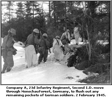 patrol 2nd division Monschau Forest Germany Infantry Regiment Second woods snow