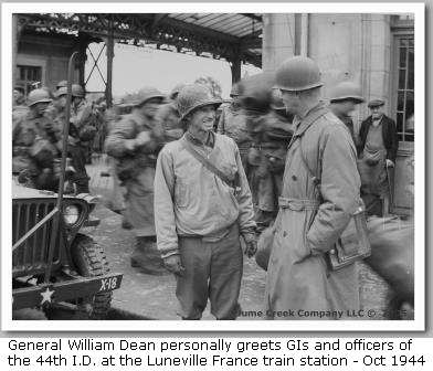 general william f. dean luneville greets 44th infantry division