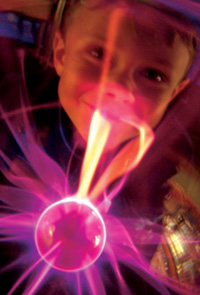 boy seen through plasmaglobe
