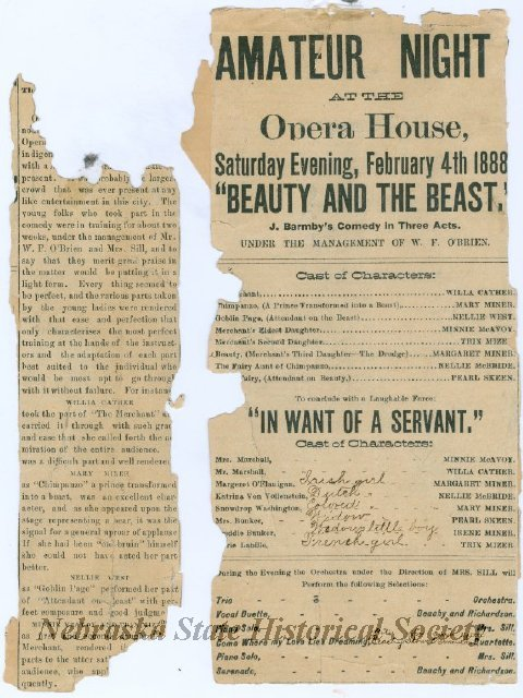 This newspaper clipping from the Red Cloud Daily Evening Chief, February 3, 1888, announced the production of Amateur Night at the Red Cloud Opera House, featuring two plays. NSHS 3560-2884