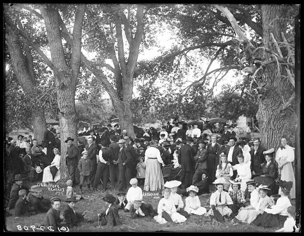 Solomon D. Butcher depicted an 1892 picnic in the cottonwood groves at the former site of Fort Kearny in Buffalo County. NSHS RG2608-2908