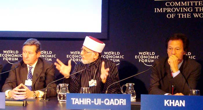 """Caption Shameless Stooges at the massa's table in payoff for """"Bukakke"""" services rendered. Tahir ul-Qadri is not a patsy – he knows exactly what he is doing by echoing empire's axioms on Terrorism. Just being invited to sit at the white man's table and utter gibberish in gratitude is evidently sufficient incentive for Pakistani brown-sahibs to commit treason."""