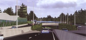 Artist's impression of the entrance to the Toombul (Digger's Drive) end of Airport Link.