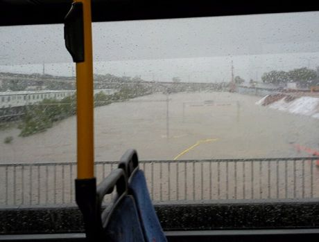 The view from the Airtrain across flooded Schulz Canal on May 21, 2009.