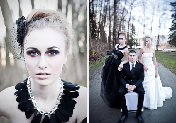 Old, Borrowed & Blue - black swan inspired wedding photoshoot 21