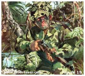 jungle warfare jungle-patterned suit