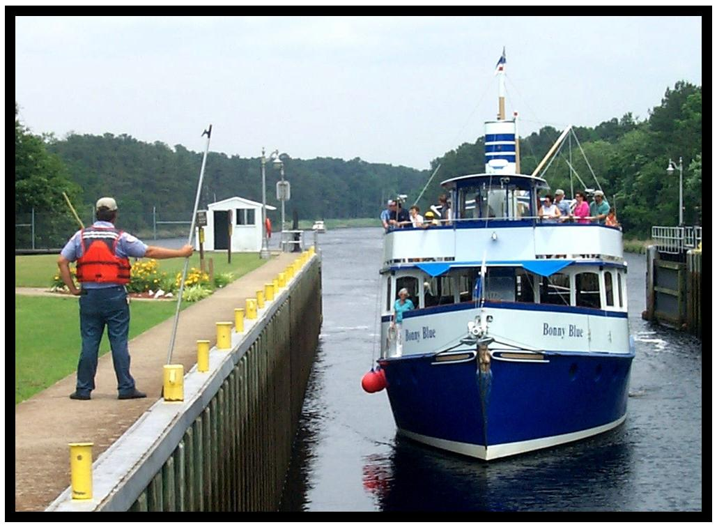 Tour boat on the Dismal Swamp Canal