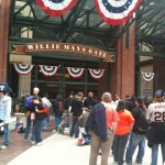 Fans began to gather in front of AT&T Park several hours before Game 1 of the World Series.