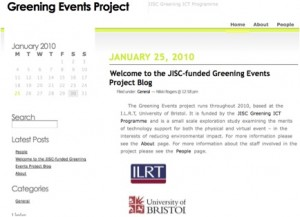 Screen Shot of the Greening Events Project blog
