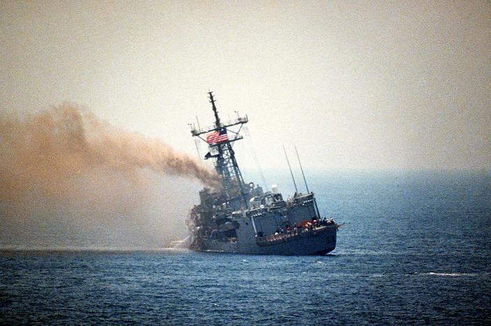 USS Stark being hit by two Exocet missiles