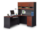 VIA Compact Reversible L-Desk with Hutch, OFG-LF0065