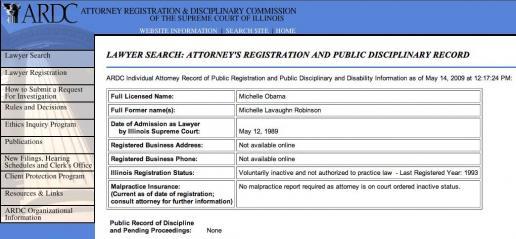Obama Michelle law license