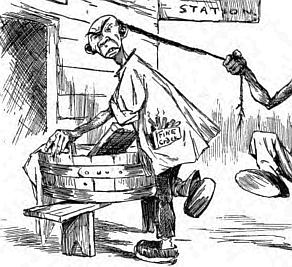 Pulling the queue was a common theme in 19th century western illustrations