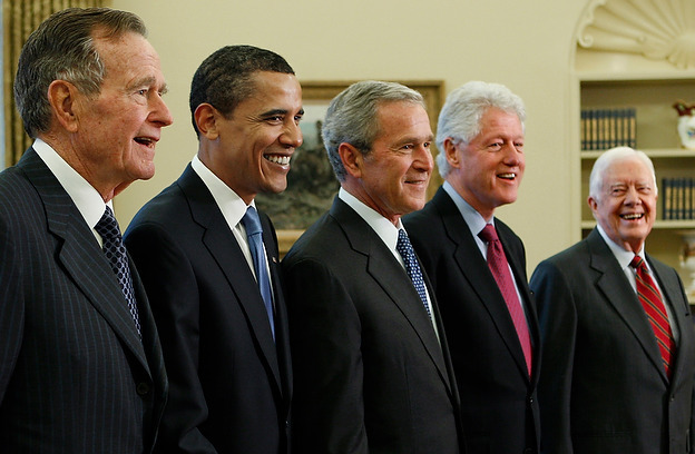 President George W. Bush poses with President-elect Barack Obama, and former presidents, George H.W. Bush, Bill Clinton and Jimmy Carter, Wednesday, Jan. 7, 2009, in the Oval Office of the White House in Washington. (AP Photo/J. Scott Applewhite) http://media.charlotteobserver.com/smedia/2009/01/07/15/9-20090107_presidents_02.standalone.prod_affiliate.138.jpg