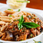 Skillet Eggplant and Lentils with Almond Parmesan