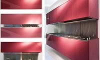 Contemporary Red Foldable Kitchen Cabinets Design Ideas