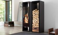 Modern and Simple Cabinets Features Decorative Fireplace and Logs Storage – Gate by Conmoto