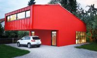 Small House with Glass Wall Interior and Simple Red Exterior Design in Germany