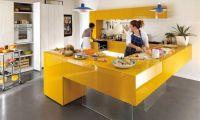 Colorful Kitchen Cabinet Decorating Ideas for Clean and Simple Modern Kitchen