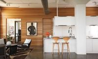 Contemporary White Apartment Interior Design Combine with Wooden Wall