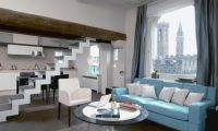 Modern Apartment Interior Design with Pastel Color and Romantic Rooftop Deck